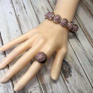 Pink rhinestone Monet bracelet and ring